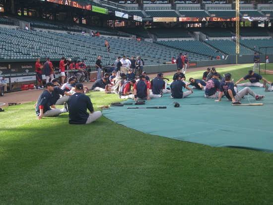 Red Sox Stretching Oriole Park 42611