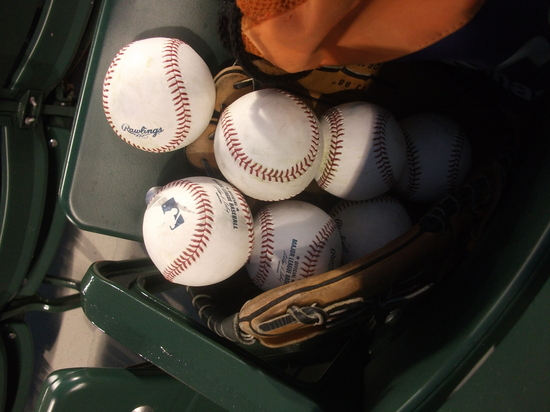 Baseballs glove oriole park